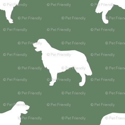 Golden Retriever silhouette dog breed fabric  medium green
