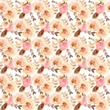 soft pink and peach watercolor floral  fabric by smallhoursshop on Spoonflower - custom fabric