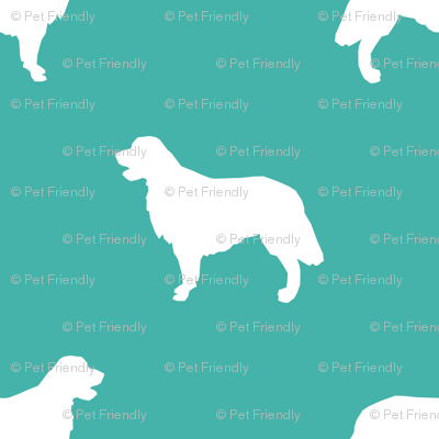 Golden Retriever silhouette dog breed fabric turquoise