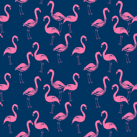 flamingo fabric navy and pink flamingos fabric by charlottewinter on Spoonflower - custom fabric