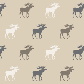 Big Moose - tan, brown, taupe, grey - Rustic Woodland