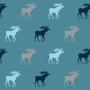 Big Moose - teal, navy, grey - Winslow Woodland