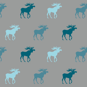 Big Moose - teal, blue on grey - Winslow Woodland
