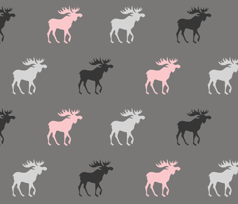 Big Moose - pink , black and greys - Baby Girl Woodland fabric by sugarpinedesign on Spoonflower - custom fabric