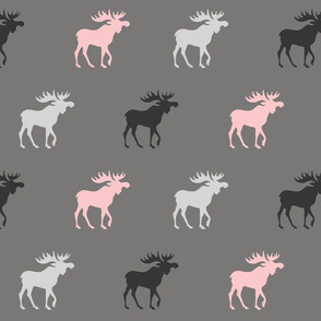 Big Moose - pink , black and greys - Baby Girl Woodland