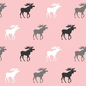 Big Moose - grey, black, white on pink - Baby Girl Woodland Nursery