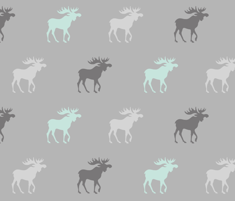 Moose - Whistler village - mint and grey fabric by sugarpinedesign on Spoonflower - custom fabric