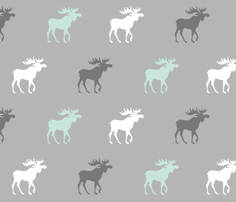 Big Moose - mint, white and greys -  fabric by sugarpinedesign on Spoonflower - custom fabric