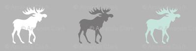 Little Moose - mint, white, greys - Woodland nursery