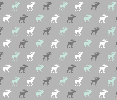 Little Moose - mint, white, greys - Woodland nursery fabric by sugarpinedesign on Spoonflower - custom fabric