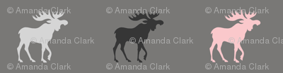 Little Moose - pink, black, grays - Baby Girl Woodland