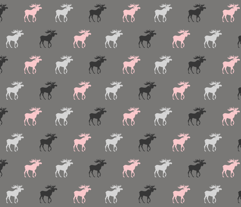 Little Moose - pink, black, grays - Baby Girl Woodland fabric by sugarpinedesign on Spoonflower - custom fabric