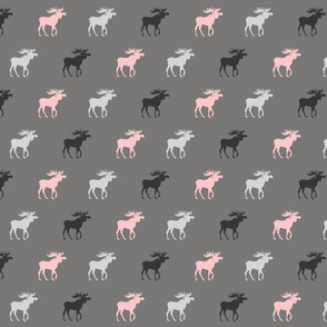 Little Moose - pink, black, grays - Baby Girl Woodland