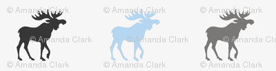 Little Moose - baby blue and grey on silver