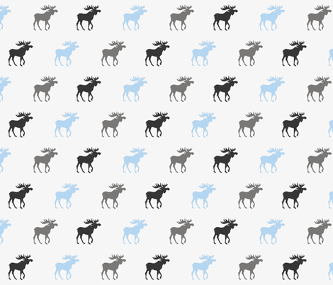 Little Moose - baby blue and grey on silver  fabric by sugarpinedesign on Spoonflower - custom fabric