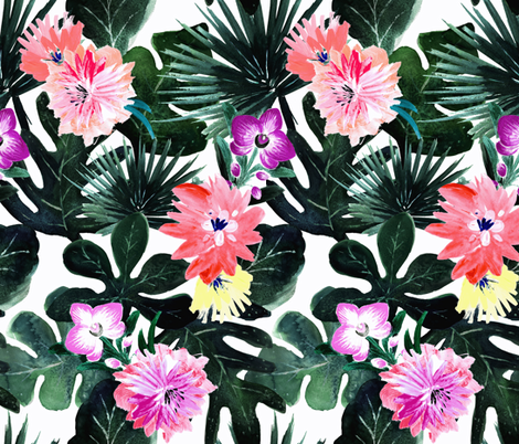 Lush Tropical Floral fabric by crystal_walen on Spoonflower - custom fabric