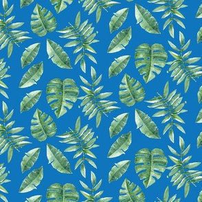 Tropical Leaves Palm Leaf Frawn Banana Water Color on Blue