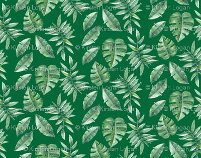 Tropical Leaves Palm Leaf Frawn Banana Water Color on Green