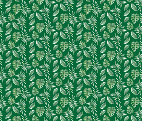 Tropical Leaves Palm Leaf Frawn Banana Water Color on Green fabric by khaus on Spoonflower - custom fabric