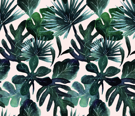 tropical Leaves Blush fabric by crystal_walen on Spoonflower - custom fabric