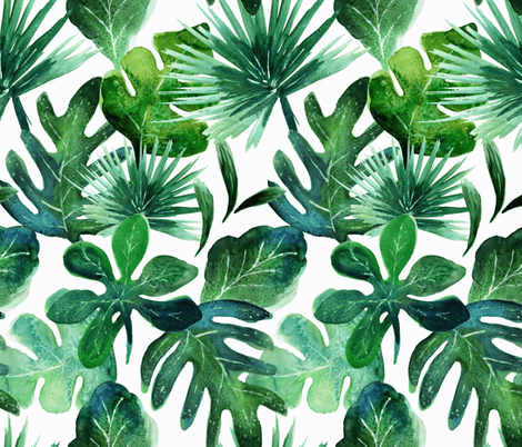 Tropical Leaves fabric by crystal_walen on Spoonflower - custom fabric
