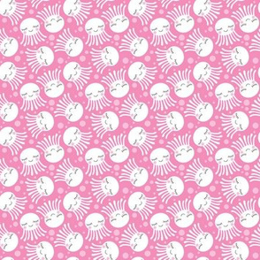 tiny octopus-with-sleepy-eyes-white-on-pink