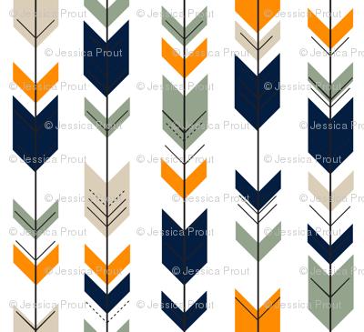 (small scale) Fletching arrows // navy/tan/sage/orange