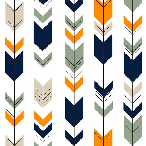 (small scale) Fletching arrows // navy/tan/sage/orange fabric by littlearrowdesign on Spoonflower - custom fabric