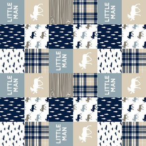 "3"" small scale - little man patchwork quilt top (90) 