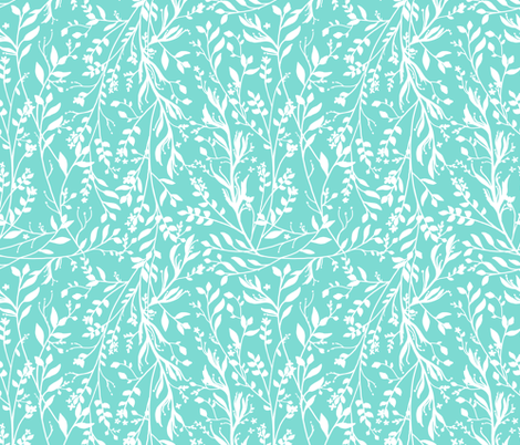 TANGLED, Turquoise fabric by thistleandfox on Spoonflower - custom fabric