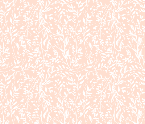TANGLED, White on Pale Peach fabric by thistleandfox on Spoonflower - custom fabric