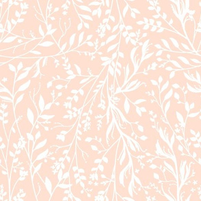 TANGLED, White on Pale Peach