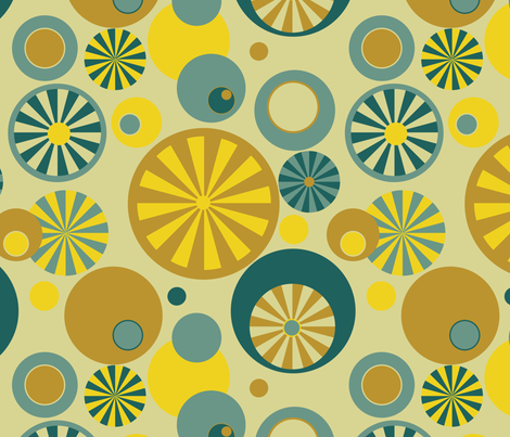 Circle Frenzy - Yellow - Large - Retro fabric by whyitsme_design on Spoonflower - custom fabric