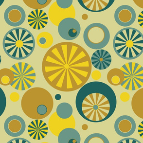 Circle Frenzy - Yellow - Large - Retro