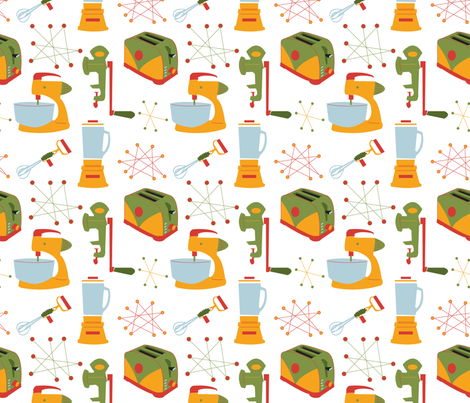 Retro Kitchen Appliances - Vintage - Green - Gold - Red fabric by whyitsme_design on Spoonflower - custom fabric