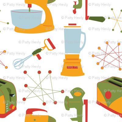 Retro Kitchen Appliances - Vintage - Large - Green - Gold- Red