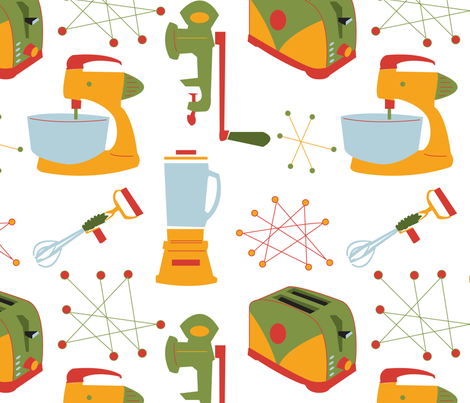 Retro Kitchen Appliances - Vintage - Large - Green - Gold- Red fabric by whyitsme_design on Spoonflower - custom fabric