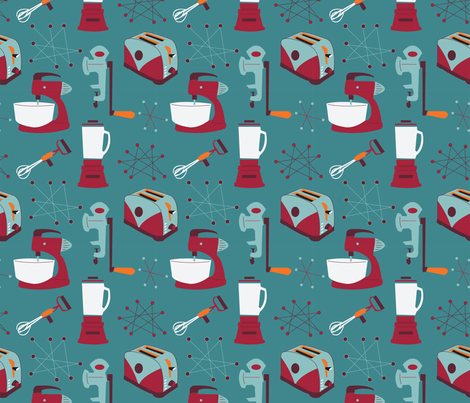 Retro Kitchen Appliances - Blue - Cranberry - Vintage fabric by whyitsme_design on Spoonflower - custom fabric