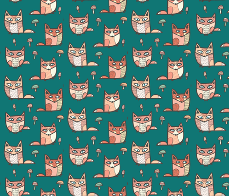 forest foxes in green fabric by pinkowlet on Spoonflower - custom fabric