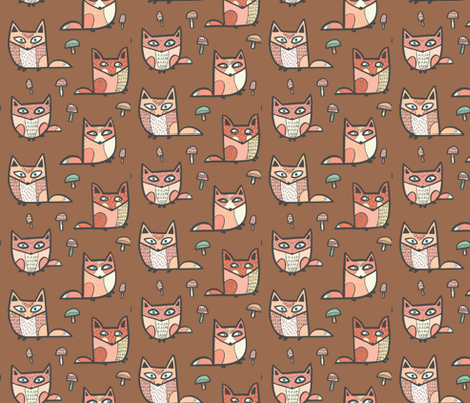 forest foxes in brown fabric by pinkowlet on Spoonflower - custom fabric