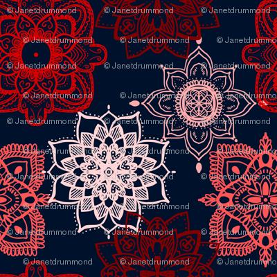 Lace Mandalas: Shades of Red