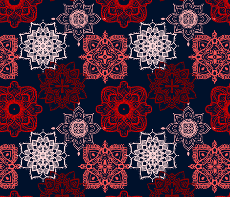 Lace Mandalas: Shades of Red fabric by janetdrummond on Spoonflower - custom fabric