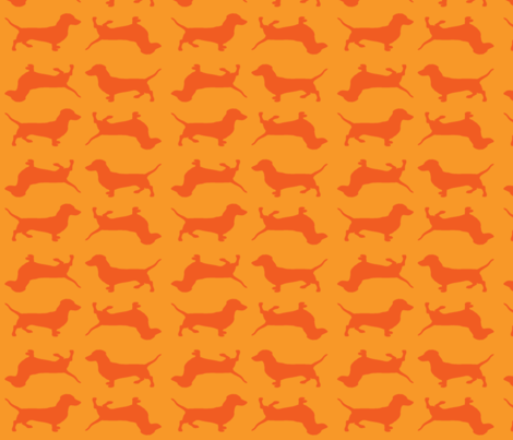 Dark orange doxies on orange fabric by bettina_pedersen on Spoonflower - custom fabric