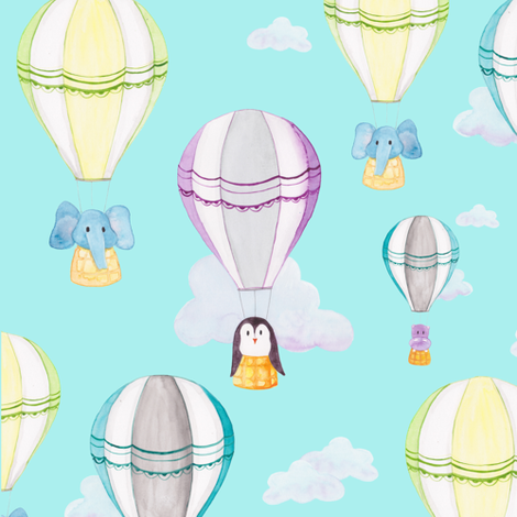 Hot Air Balloon Pattern fabric by gingerlique on Spoonflower - custom fabric