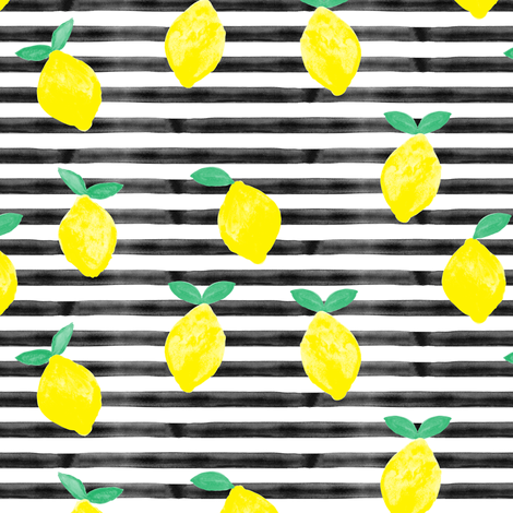 so fresh lemons on black watercolor stripes fabric by littlearrowdesign on Spoonflower - custom fabric