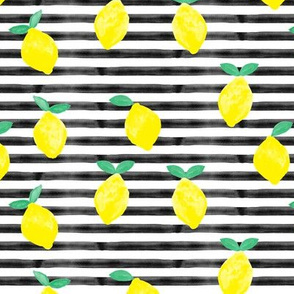 so fresh lemons on black watercolor stripes