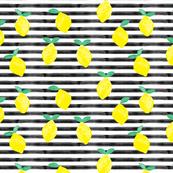 so fresh lemons on black watercolor stripes