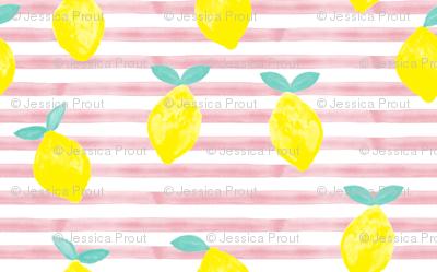 lemons - watercolor stripes (pink)