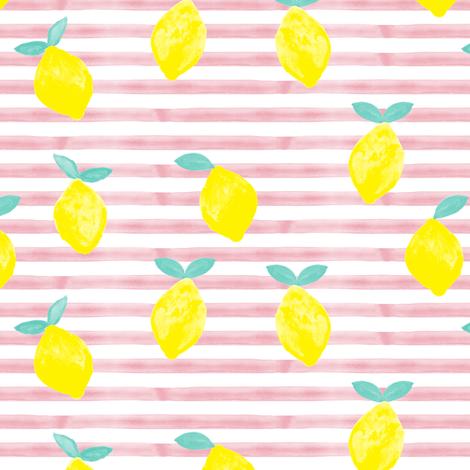 lemons - watercolor stripes (pink) fabric by littlearrowdesign on Spoonflower - custom fabric