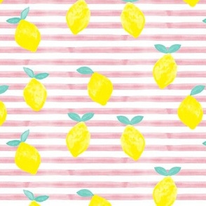 lemons - watercolor stripes (pink)